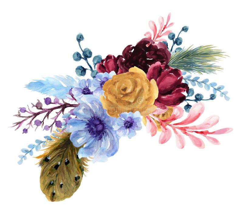 Waterverf uitstekende nam bloemen zonnebloempioen Gerbera en abstact bloem toe of verlaat samenstellingsroze en marine en blauw e stock illustratie