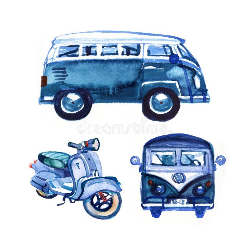 Waterverf uitstekende retro blauwe die bestelwagen en fiets, op witte achtergrond wordt geïsoleerd stock illustratie