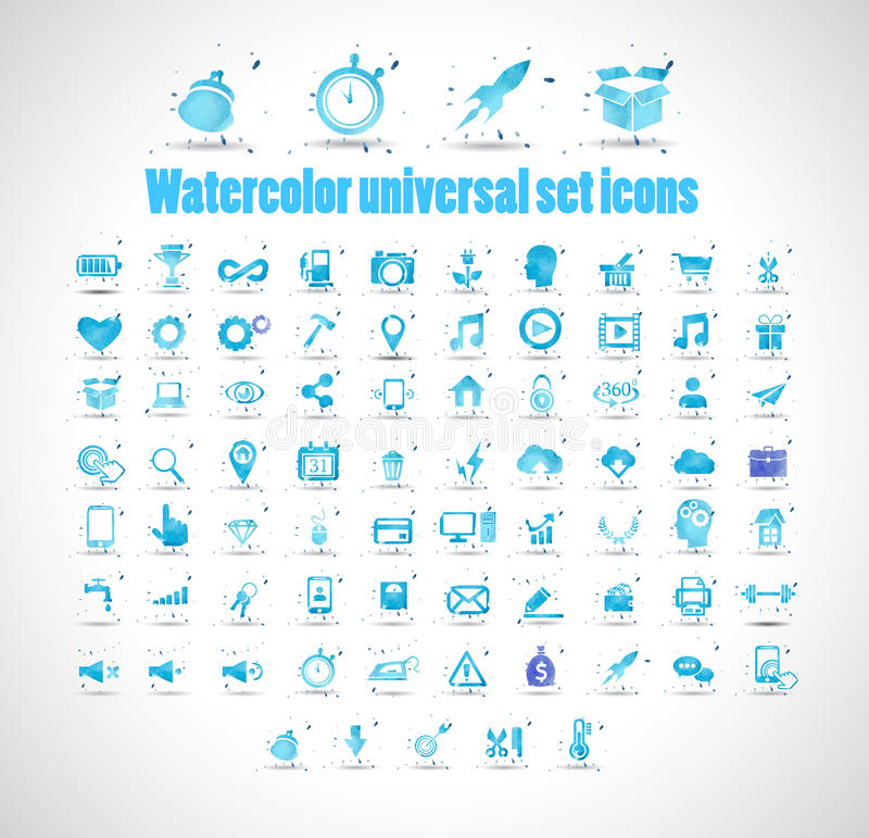Waterverf universele vastgestelde pictogrammen op witte vectorillustratie als achtergrond vector illustratie
