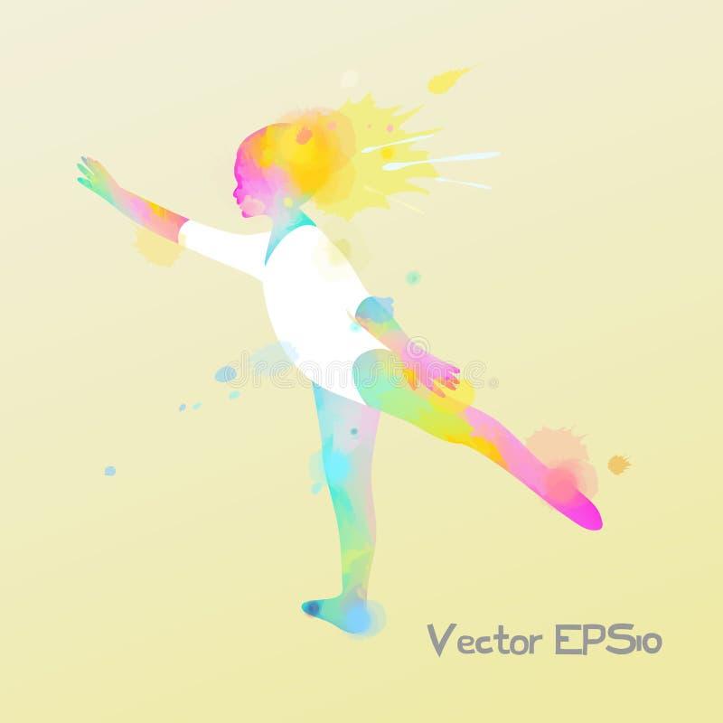waterverf van ballerina, balletmeisje het dansen Vector illustratie vector illustratie