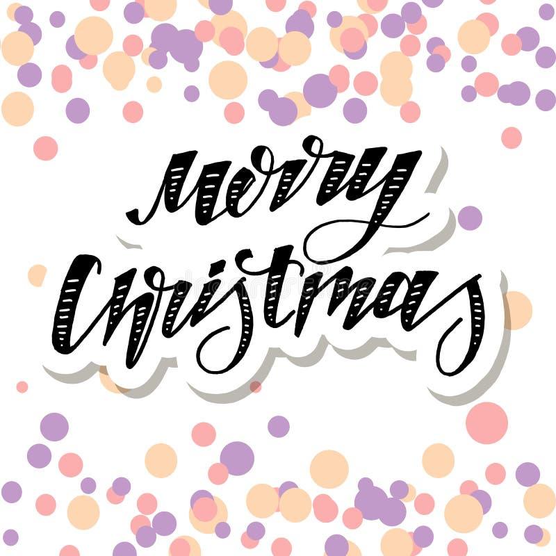 Waterverf van de de Kalligrafieborstel van de Kerstmis de Vectoruitdrukking Van letters voorziende royalty-vrije illustratie