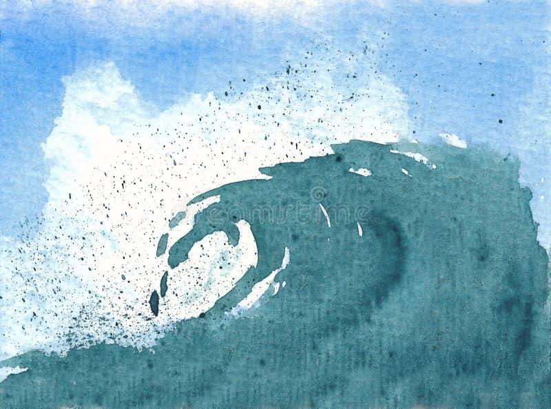Waterverf van een golf vector illustratie