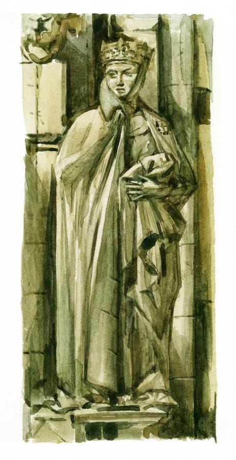 Waterverf van Gotisch beeldhouwwerk vector illustratie