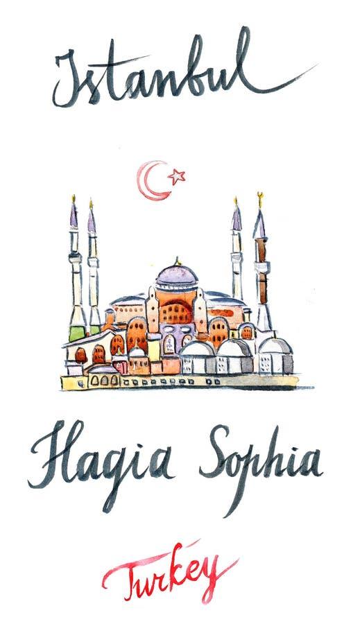 Waterverf van Hagia Sophia royalty-vrije illustratie