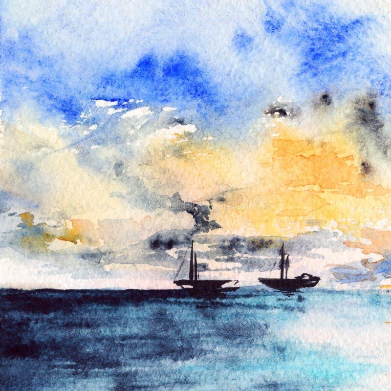 Waterverf van het overzeese oceaan de zonsondergang helder landschap bootschip vector illustratie