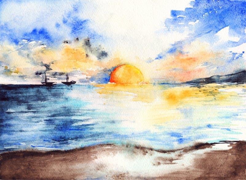 Waterverf van overzeese het oceaanlandschap zonsondergang heldere schepen royalty-vrije illustratie