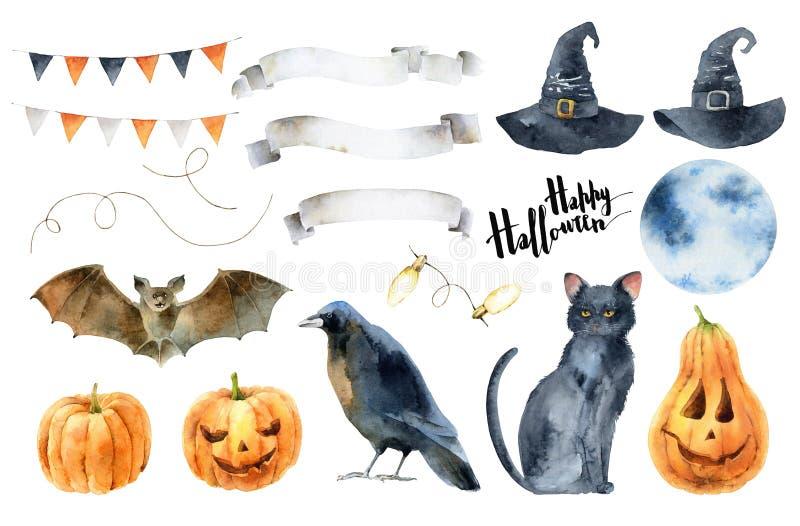 Waterverf vastgestelde elementen voor Halloween stock illustratie
