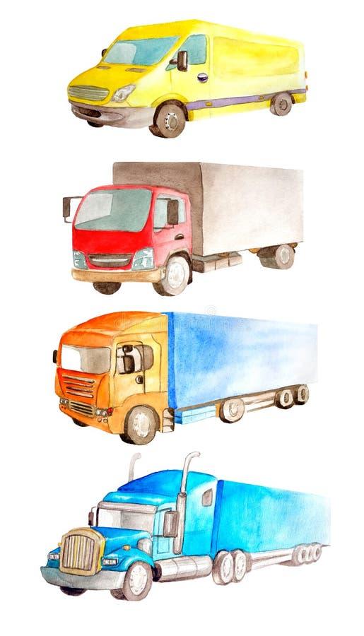 Waterverf vastgestelde inzameling van voertuigenvrachtwagen, lorrie, bestelwagen in verschillende kleuren, type en classificatie  stock foto's