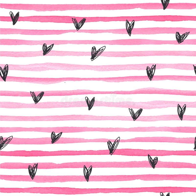 Waterverf vector naadloos patroon met roze horizontale strepen amd zwarte hand getrokken harten op een witte achtergrond stock illustratie