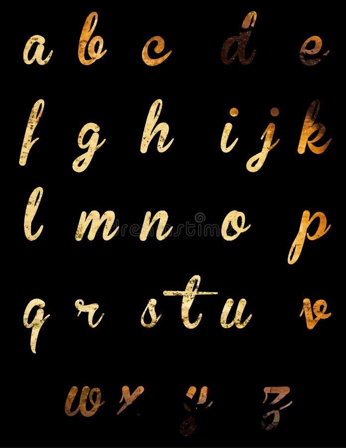 Waterverf vectoralfabet Hand getrokken brieven Hand getrokken doopvont royalty-vrije illustratie
