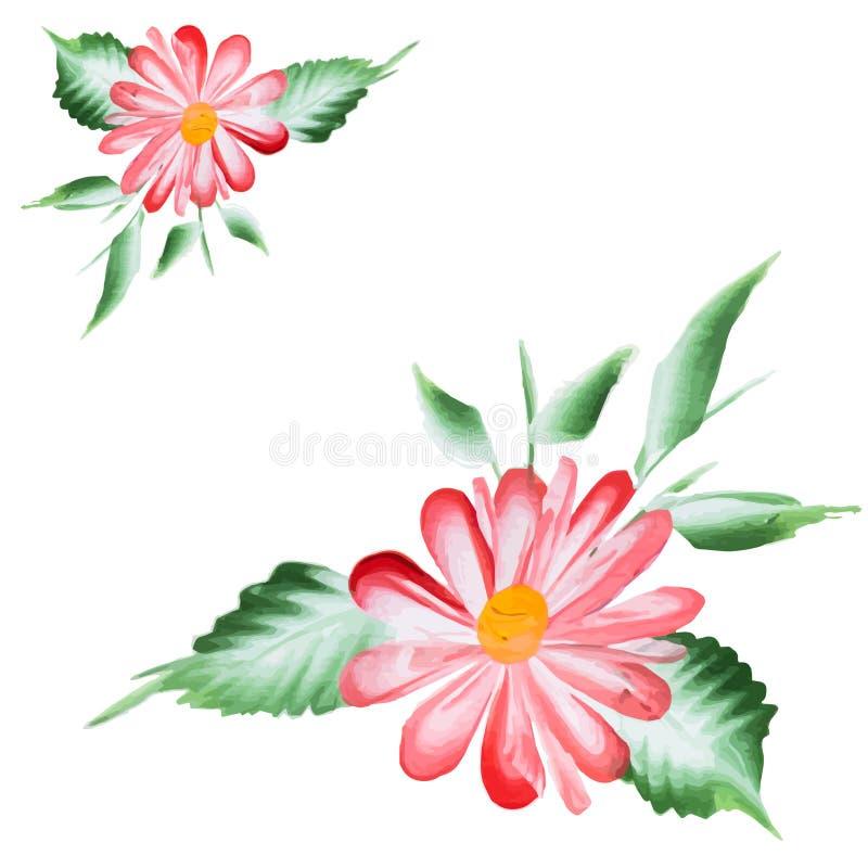 Waterverf Vectorbloemen Vectorwatercolour-Bloemen vector illustratie