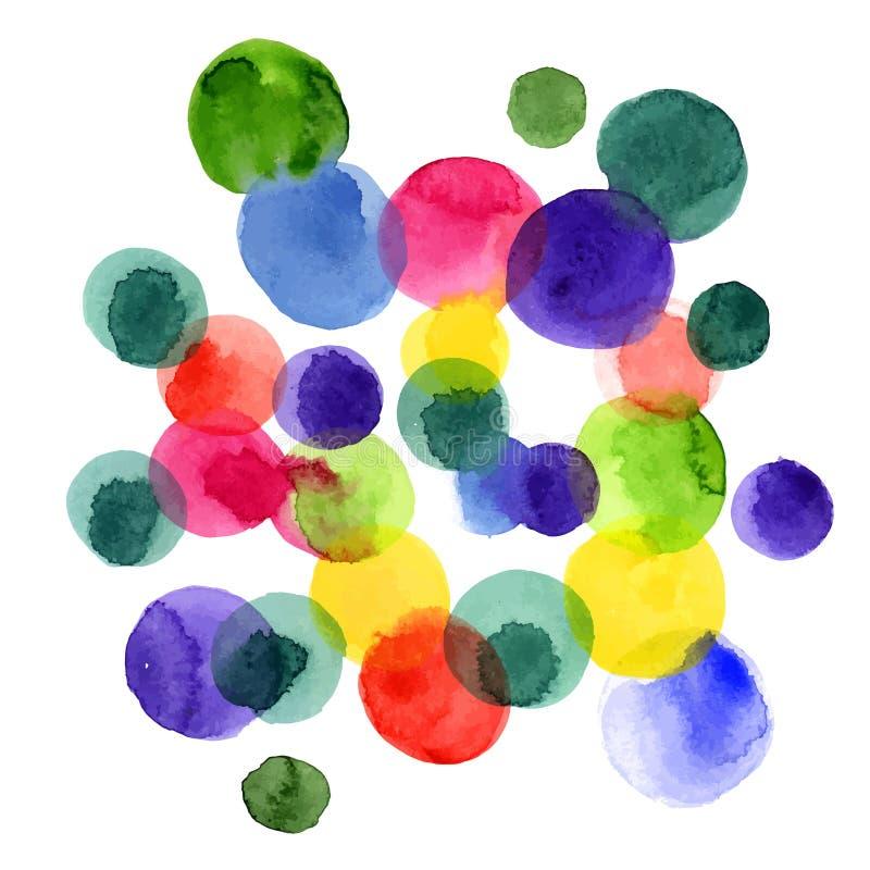 Waterverf vectorcirkels royalty-vrije illustratie