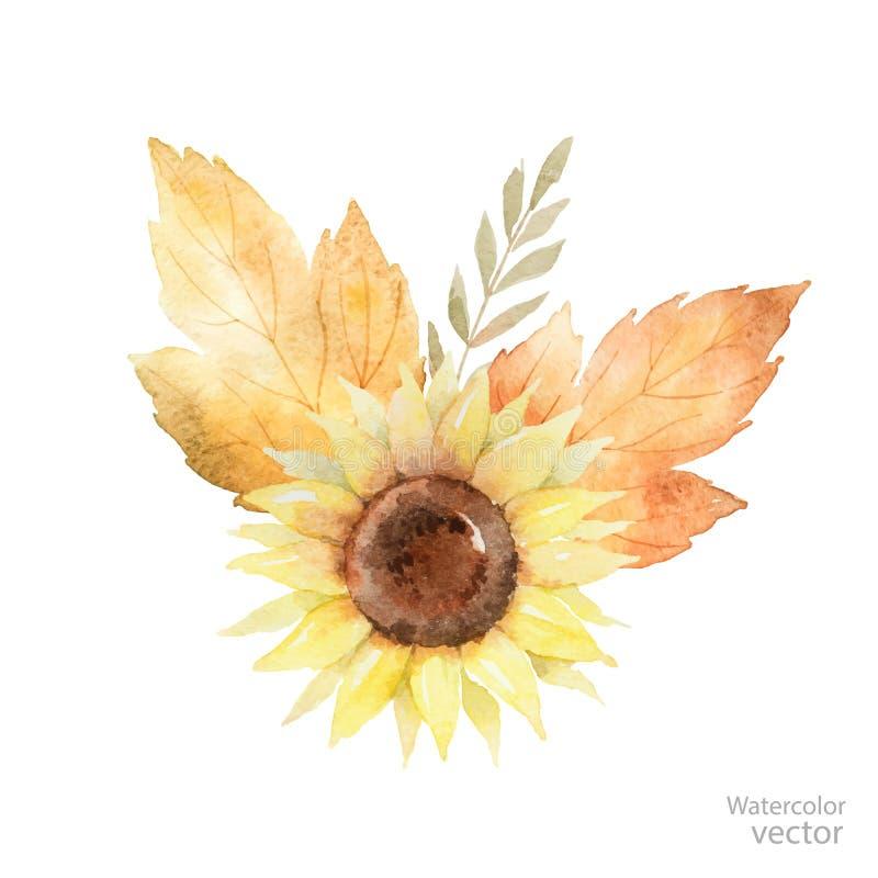 Waterverf vectordieboeket van bladeren, takken en zonnebloem op witte achtergrond worden geïsoleerd royalty-vrije illustratie