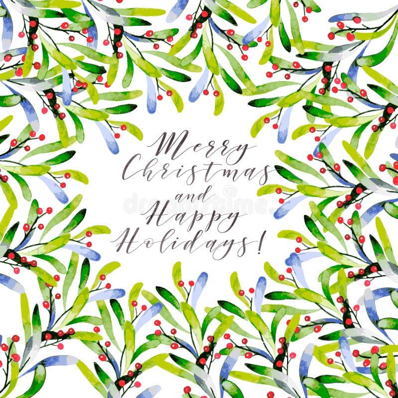 Waterverf vectorillustratie Kerstmiskader met de wintertakjes en bessen De kaart van de groet Getrokken hand Kerstmis vector illustratie