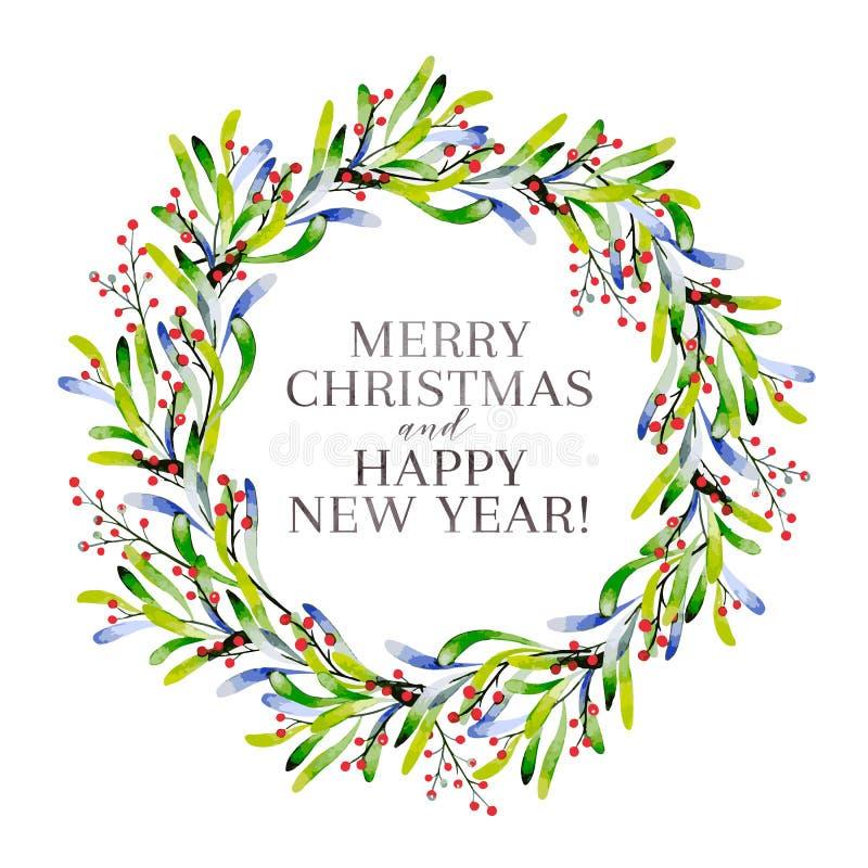 Waterverf vectorillustratie Kerstmiskroon met de wintertakjes en bessen De kaart van de groet Getrokken hand Kerstmis stock illustratie