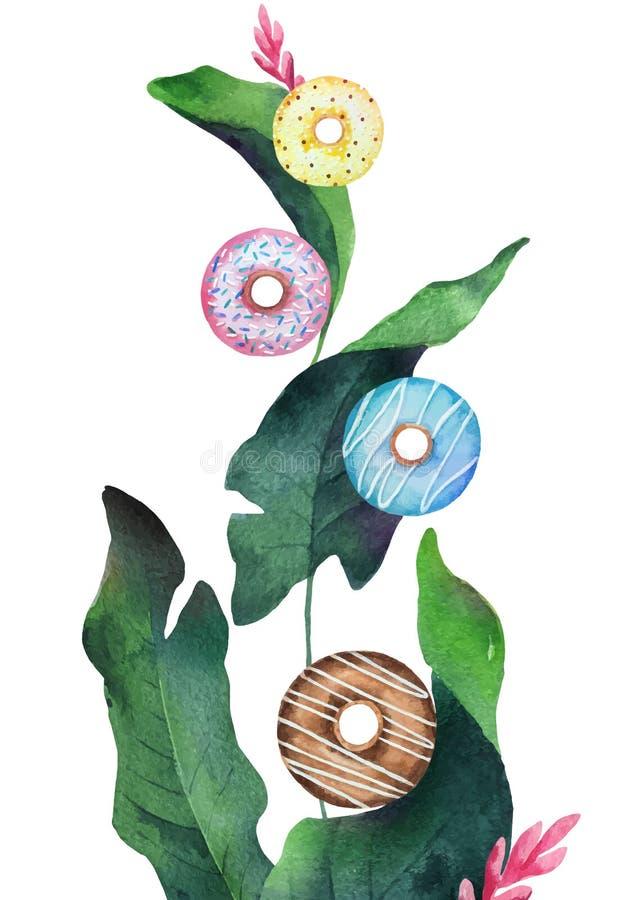 Waterverf vectormengsel van het kleurrijke vliegen donuts en groene tropische bladeren vector illustratie