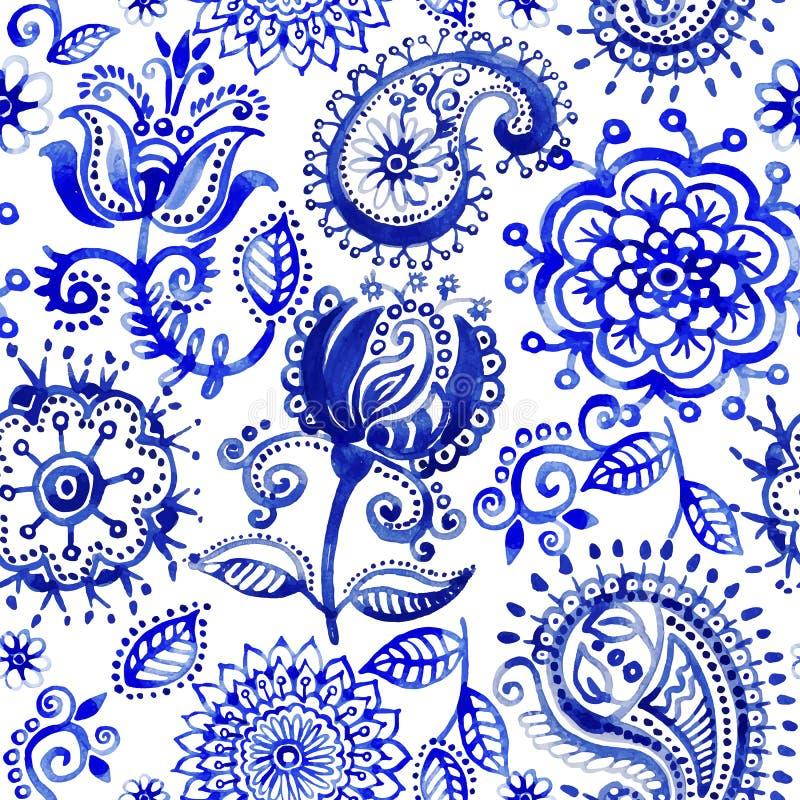 Waterverf vectorpatroon in de stijl van Paisley Blauw en wit ornament vector illustratie