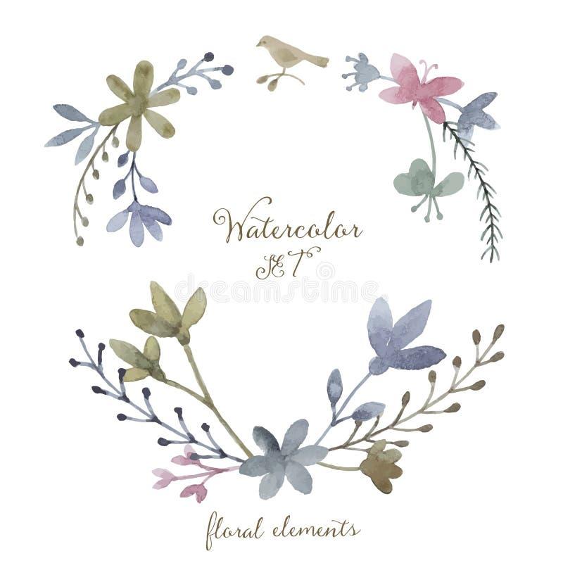 Waterverf vectorreeks royalty-vrije illustratie