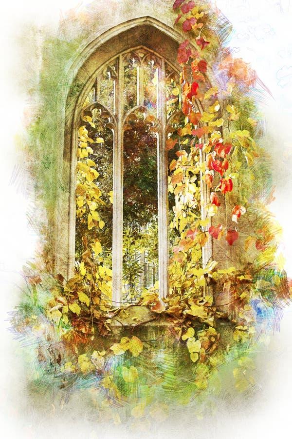 Waterverf verlaten kerkvenster Londen stock afbeelding