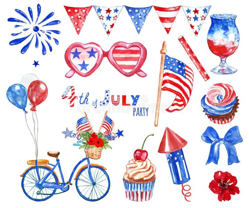 Waterverf vierde van de grote hand getrokken reeks van Juli met rode, witte en blauwe symbolen van de nationale die vakantie van  stock foto