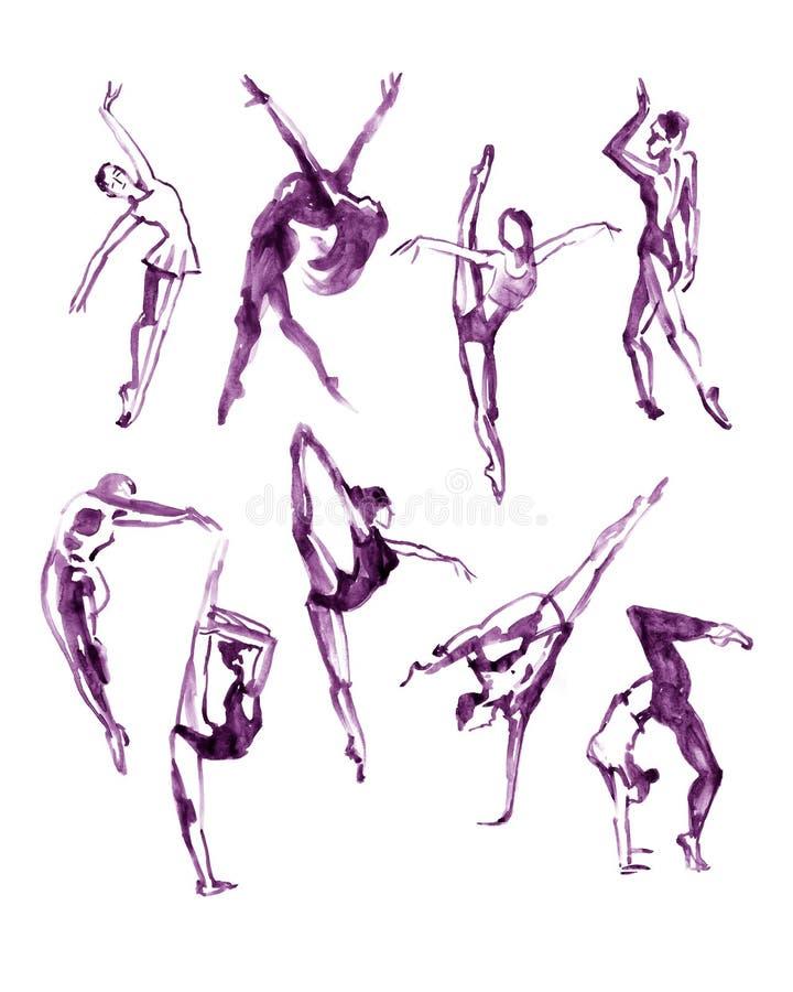Waterverf violette inzameling van eigentijdse dansvolkeren royalty-vrije illustratie