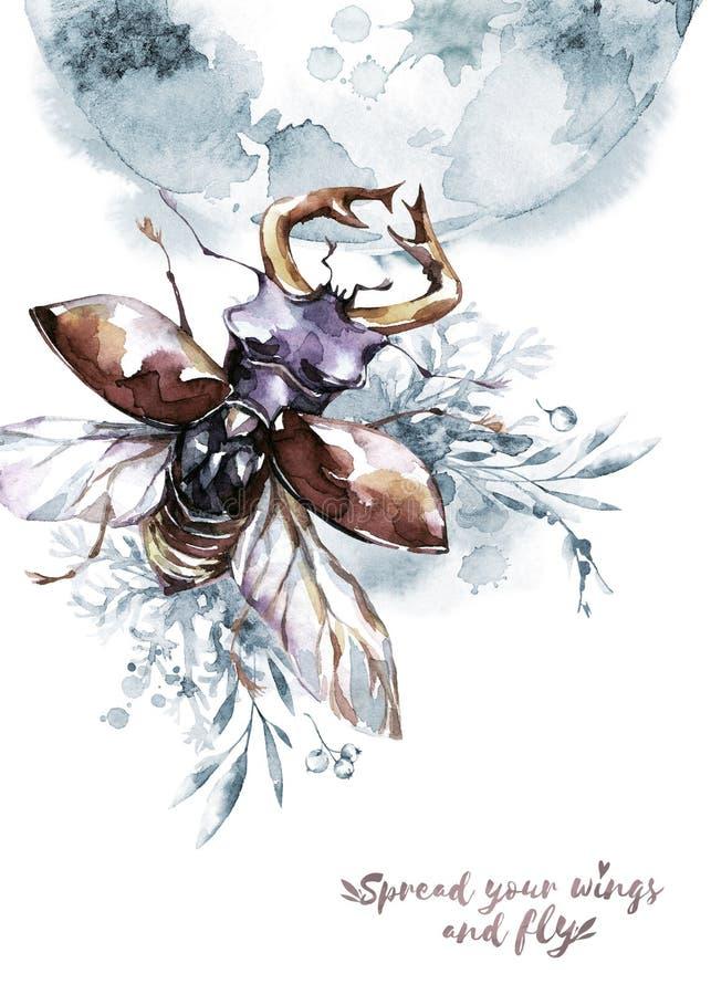 Waterverf vliegende kever met hoornen op mistic planeet en bloemenachtergrond Dier, insecten Magische vlucht Kan zijn royalty-vrije illustratie