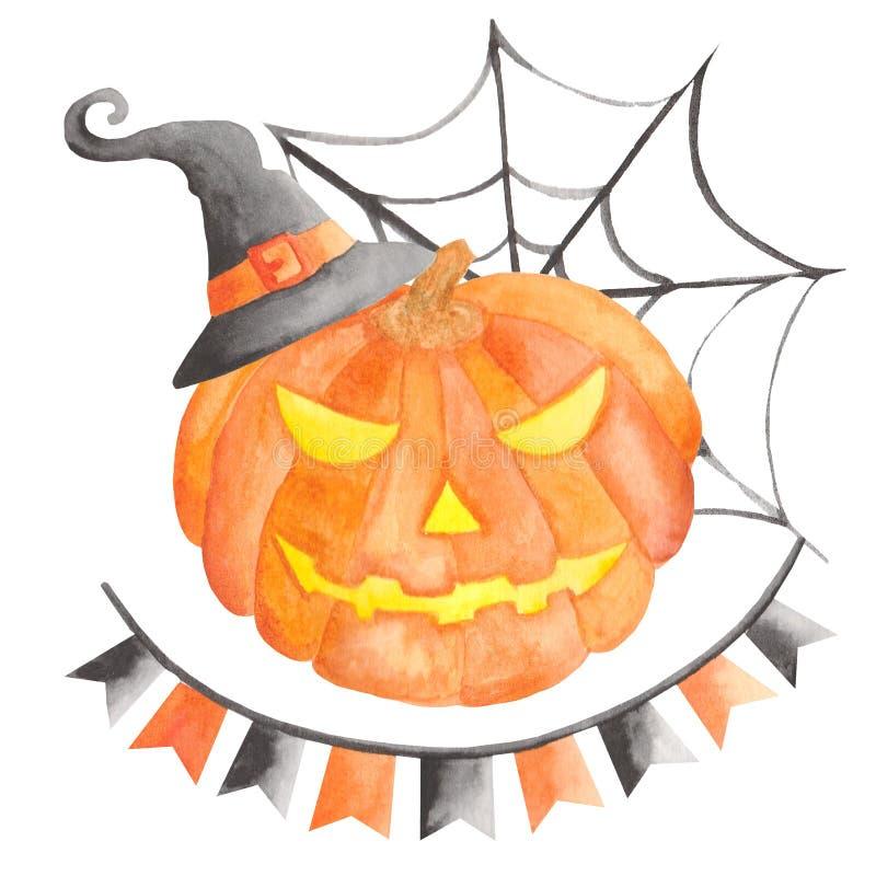 Waterverf voor Halloween met pompoen wordt geplaatst die royalty-vrije illustratie
