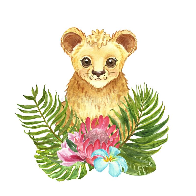 Waterverf weinig leeuw met tropisch bloemenboeket De leuke welp van de beeldverhaalleeuw, palmbladen, de bloem van de proteakonin stock foto's