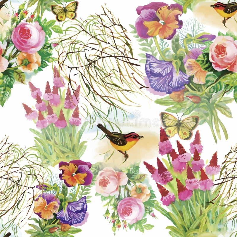 Waterverf Wilde exotische vogels op bloemen naadloos patroon op witte achtergrond royalty-vrije illustratie