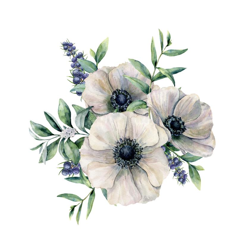 Waterverf wit anemoon en bessenboeket De hand schilderde bloem, geïsoleerde eucalyptusbladeren, witte bes en jeneverbes vector illustratie