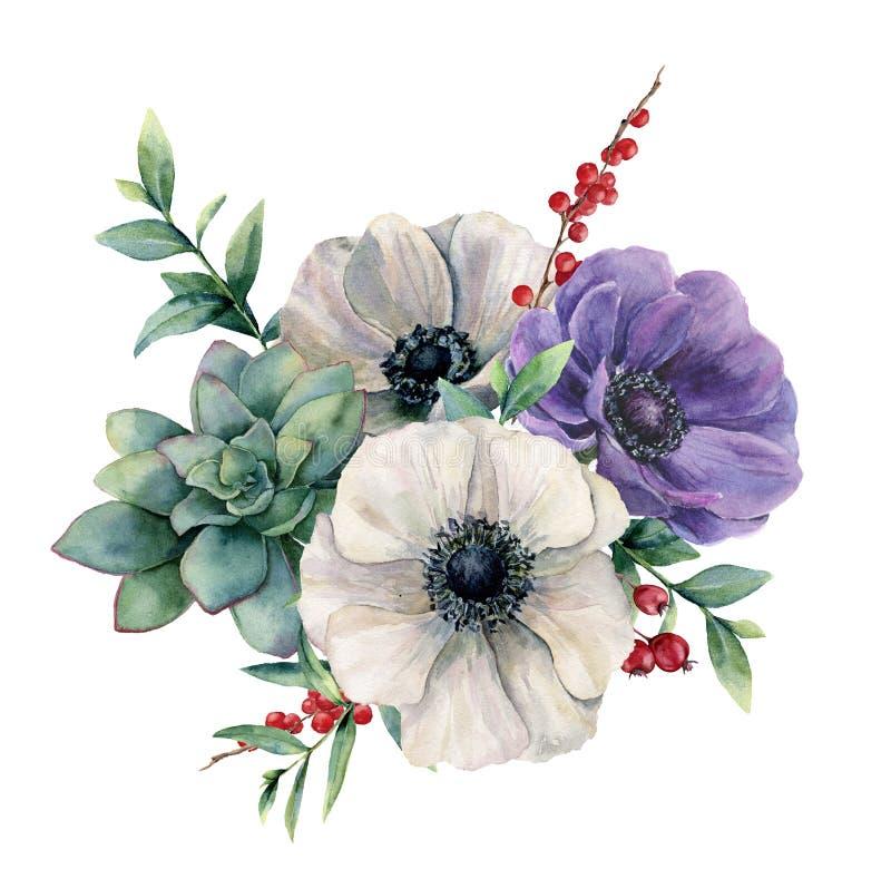 Waterverf witte anemoon en succulent boeket De hand schilderde kleurrijke bloem, geïsoleerde eucalyptusbladeren en bessen stock illustratie