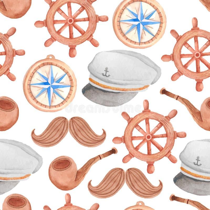 Waterverf zeevaart naadloos patroon royalty-vrije illustratie
