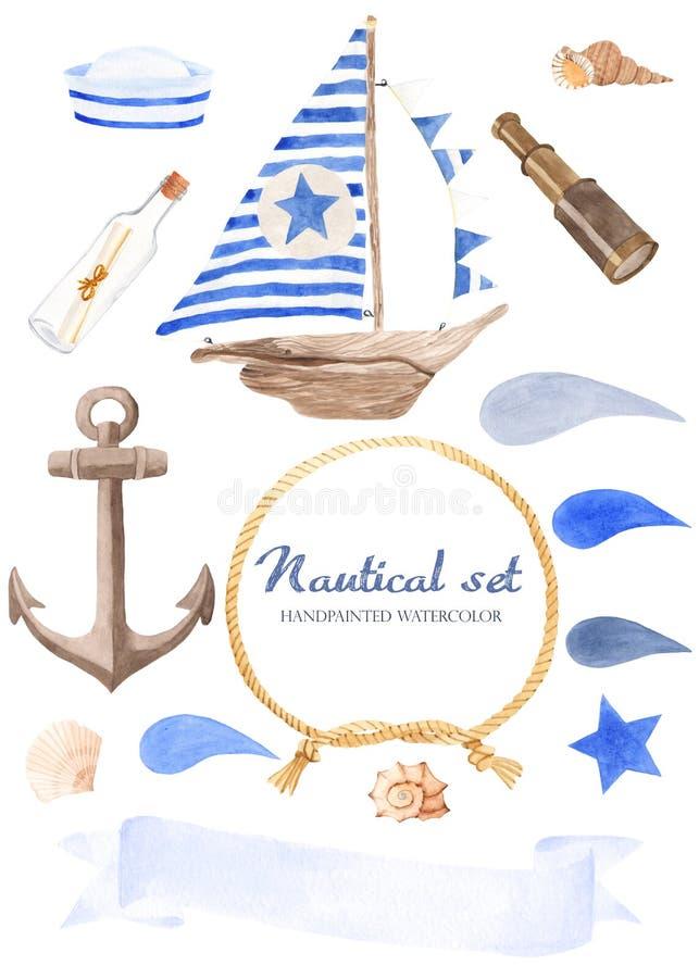 Waterverf zeevaartreeks op een witte achtergrond vector illustratie