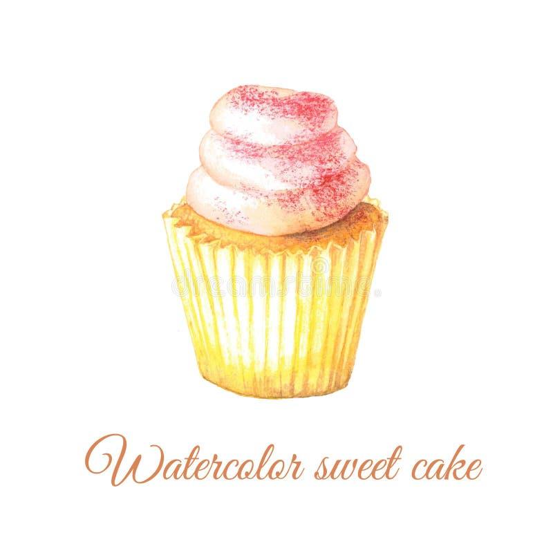 Waterverf zoete cupcake royalty-vrije stock afbeeldingen