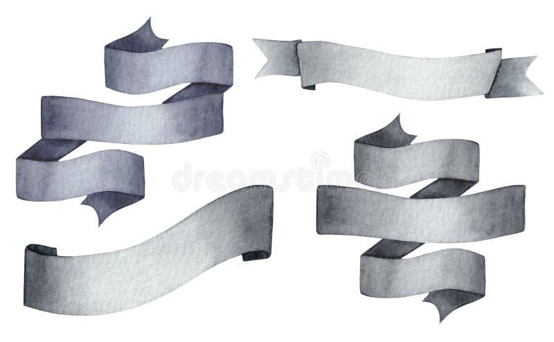 Waterverf zwart en grijs lint dat op wit wordt geïsoleerd royalty-vrije illustratie