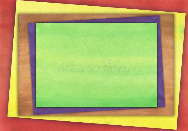 Waterverfachtergrond met eenvormige toonvierkanten dat wordt gecombineerd royalty-vrije illustratie
