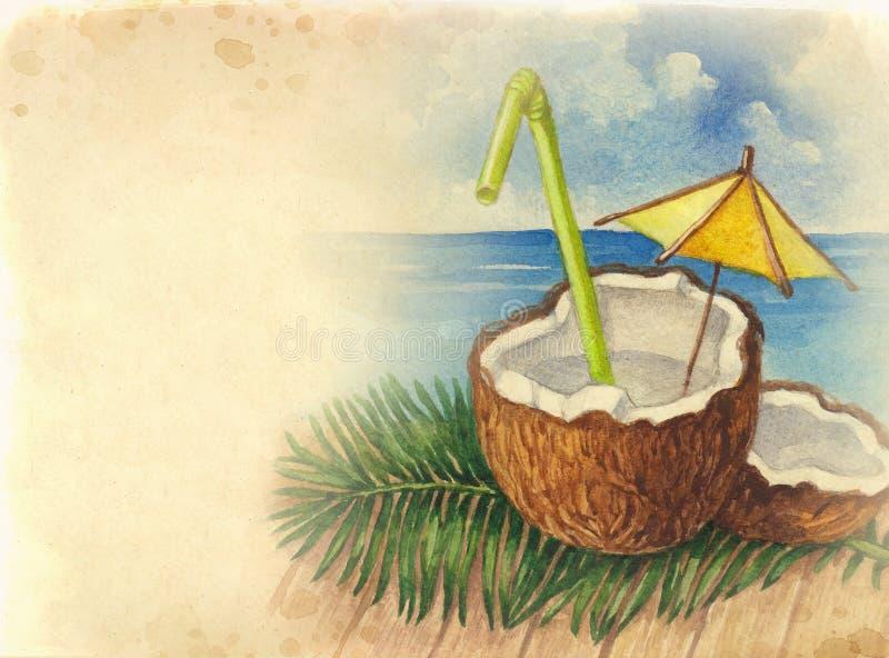 Waterverfachtergrond met illustratie van kokosnotencocktail stock illustratie