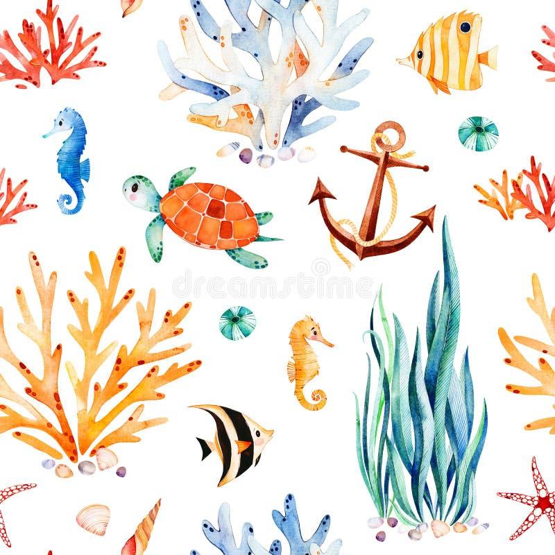 Waterverfachtergrond met leuke schildpad, seahorse, koraalrif, zeewier, anker royalty-vrije illustratie
