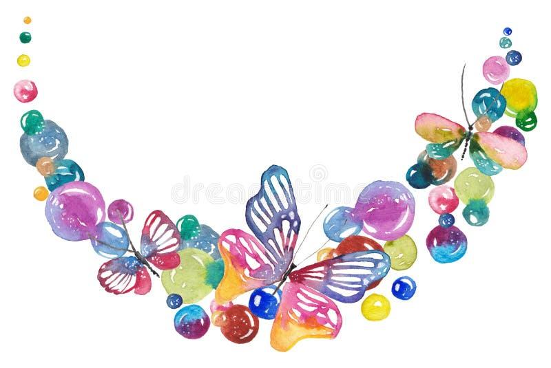 Waterverfachtergrond met vlinders en bellen royalty-vrije illustratie