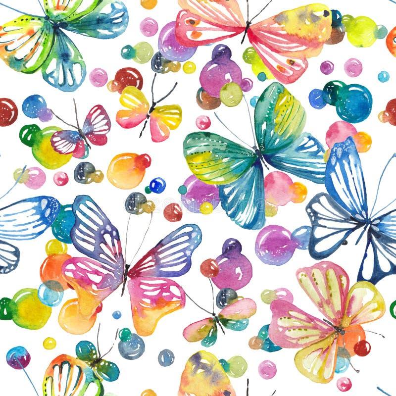 Waterverfachtergrond met vlinders en bellen, naadloos klopje vector illustratie