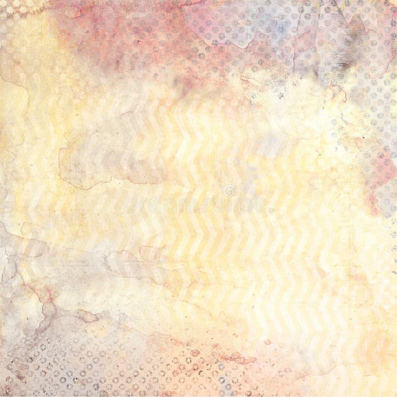 Waterverfachtergrond met zigzag en zwarte stippatronen stock illustratie
