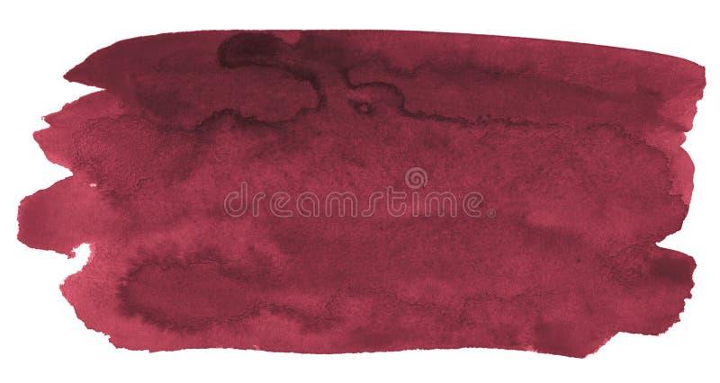 Waterverfachtergrond van in kleuren van Perzisch rood met scherpe grenzen en scheidingen De vlekken van de waterverfborstel royalty-vrije illustratie