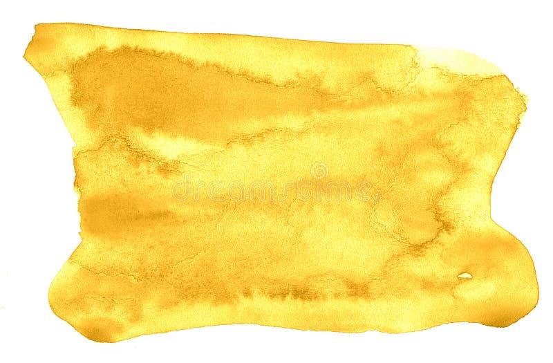 Waterverfachtergrond van in kleuren van Trillende Geel met scherpe grenzen en scheidingen De vlekken van de waterverfborstel royalty-vrije illustratie