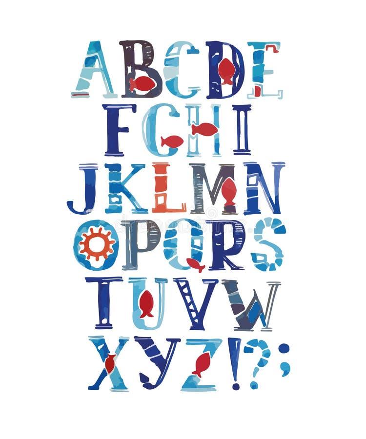 Waterverfalfabet in mariene stijl Vector met kleurrijke brieven Hand getrokken doopvont stock illustratie