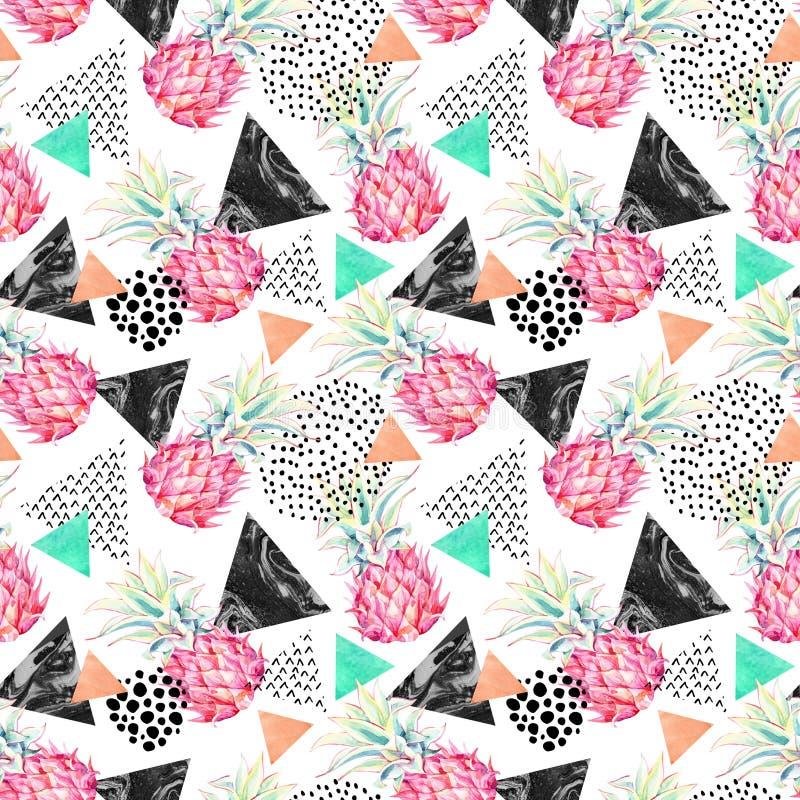 Waterverfananas en geweven driehoeken naadloos patroon stock illustratie