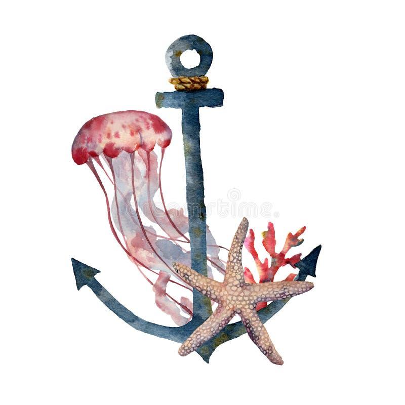 Waterverfanker met kwallen en koraal De hand schilderde onderwaterillustratie met zeester, geïsoleerd koraalrif stock illustratie