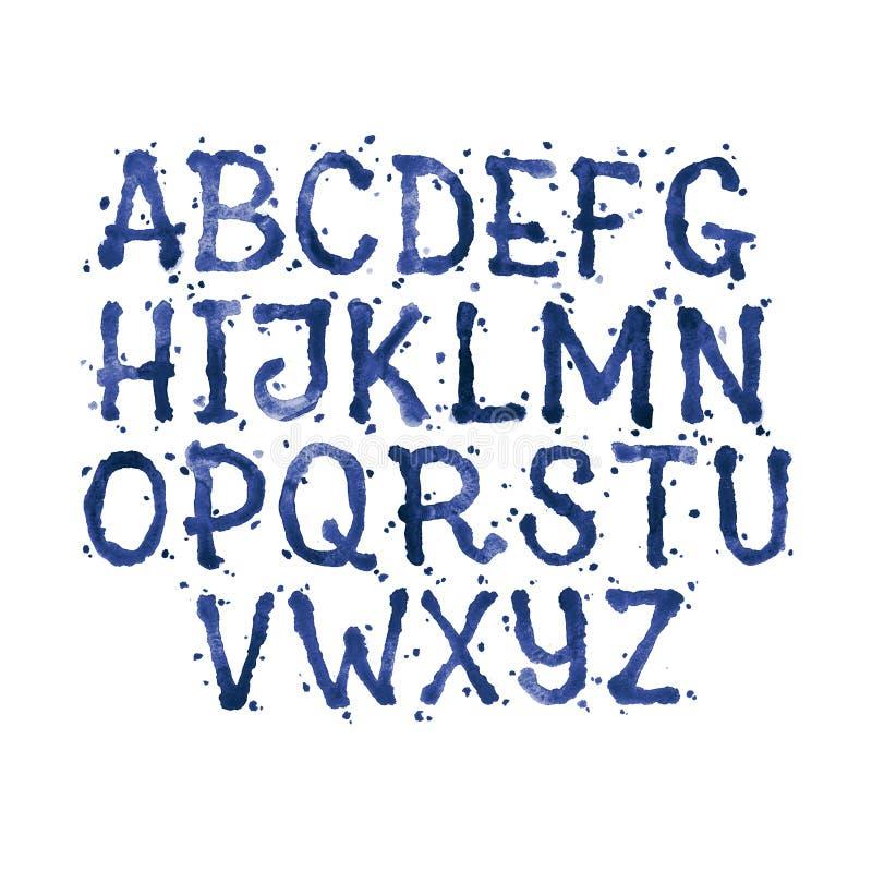 Waterverfaquarelle de doopvont typt met de hand geschreven hand getrokken het bloed van het krabbel abc alfabet en van de vlekken stock illustratie