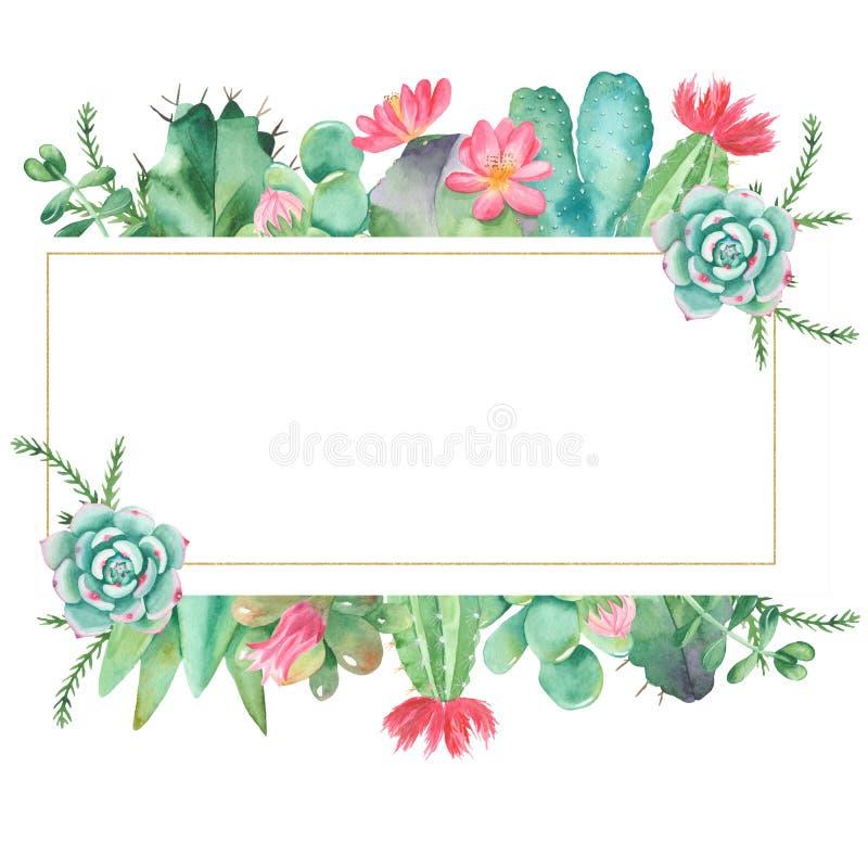 Waterverfbanner met succulents, cactussen en bloemen stock illustratie