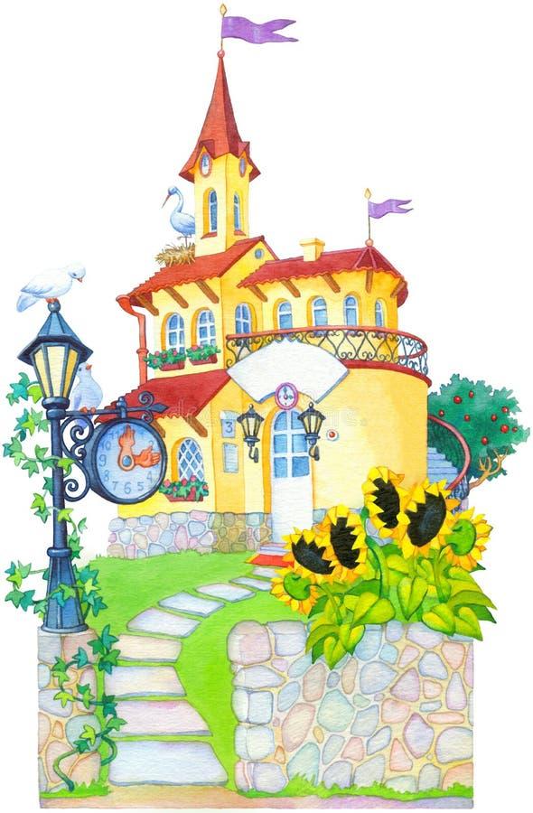 Waterverfbeeld. Het herenhuis van het Fairytalekasteel stock illustratie