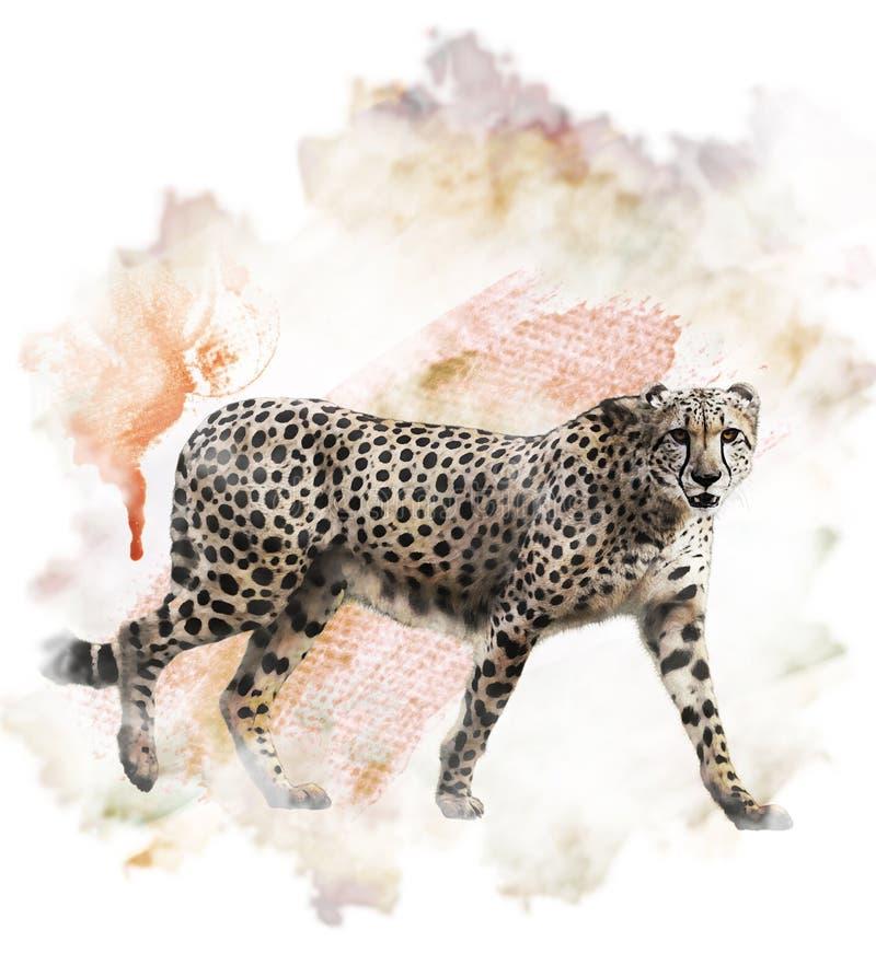 Waterverfbeeld van Jachtluipaard stock illustratie